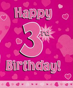 Pink 3rd Birthday Luncheon Napkins