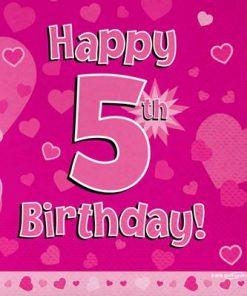 Pink 5th Birthday Luncheon Napkins