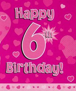 Pink 6th Birthday Luncheon Napkins
