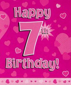 Pink 7th Birthday Luncheon Napkins