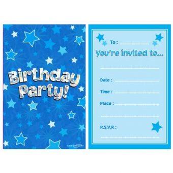 Blue Happy Birthday Invitations