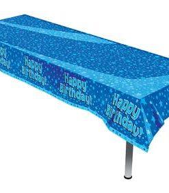 Oblong Tablecloth - Happy Birthday Blue