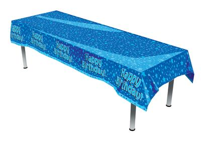 Oblong Tablecloth - Happy Birthday Blue