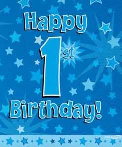 Blue 1st Birthday Luncheon Napkins