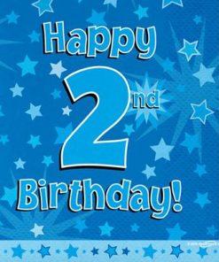 Blue 2nd Birthday Luncheon Napkins