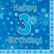 Blue 3rd Birthday Luncheon Napkins