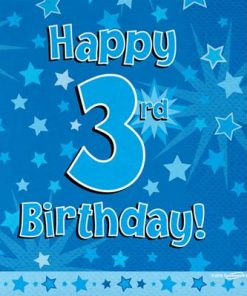 Blue 3rd Birthday Luncheon Napkins