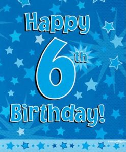 Blue 6th Birthday Luncheon Napkins