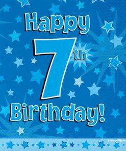Blue 7th Birthday Luncheon Napkins