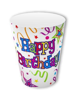 Happy Birthday Ribbon & Stars Cups