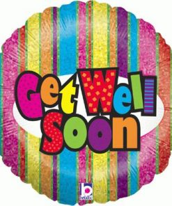 "18"" Get Well Stripes Holographic Foil"