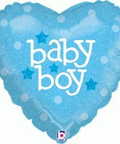 "18"" Baby Boy Heart Holographic Foil"