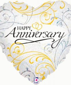 "18"" Filigree Anniversary Foil Balloon"