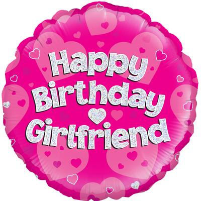 "18"" Happy Birthday Girlfriend Holographic Foil Balloon"