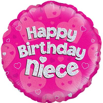 "18"" Happy Birthday Niece Holographic Foil Balloon"