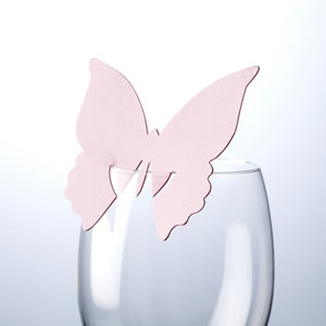 Butterfly Place Cards For Glass Baby Pink