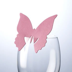 Butterfly Place Cards For Glass Hot Pink