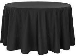"Hire - 90"" Black Round Linen Tablecloth"