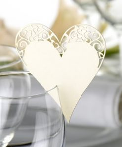 Place Card on Glass Laser Cut Ivory Heart