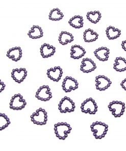Pearl Heart Shape Bead Double Sided Purple