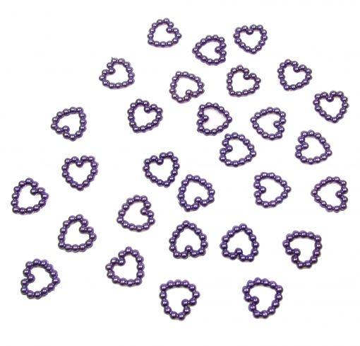 Pearl Heart Shape Bead Double Sided Purple