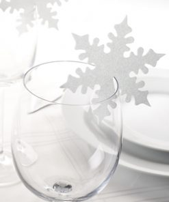 Shimmering Snowflake Place Cards For Glass - White