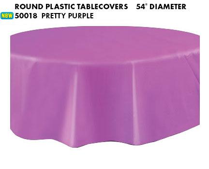 Plastic Round Tablecover - Pretty Purple