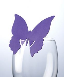 Butterfly Place Card On Glass Purple