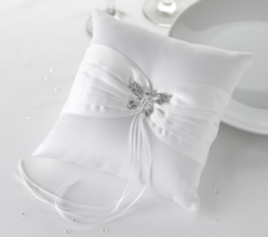 Ring Cushion White Elegant Butterfly