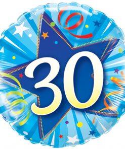 "18"" 30 Shining Star Bright Blue Foil"