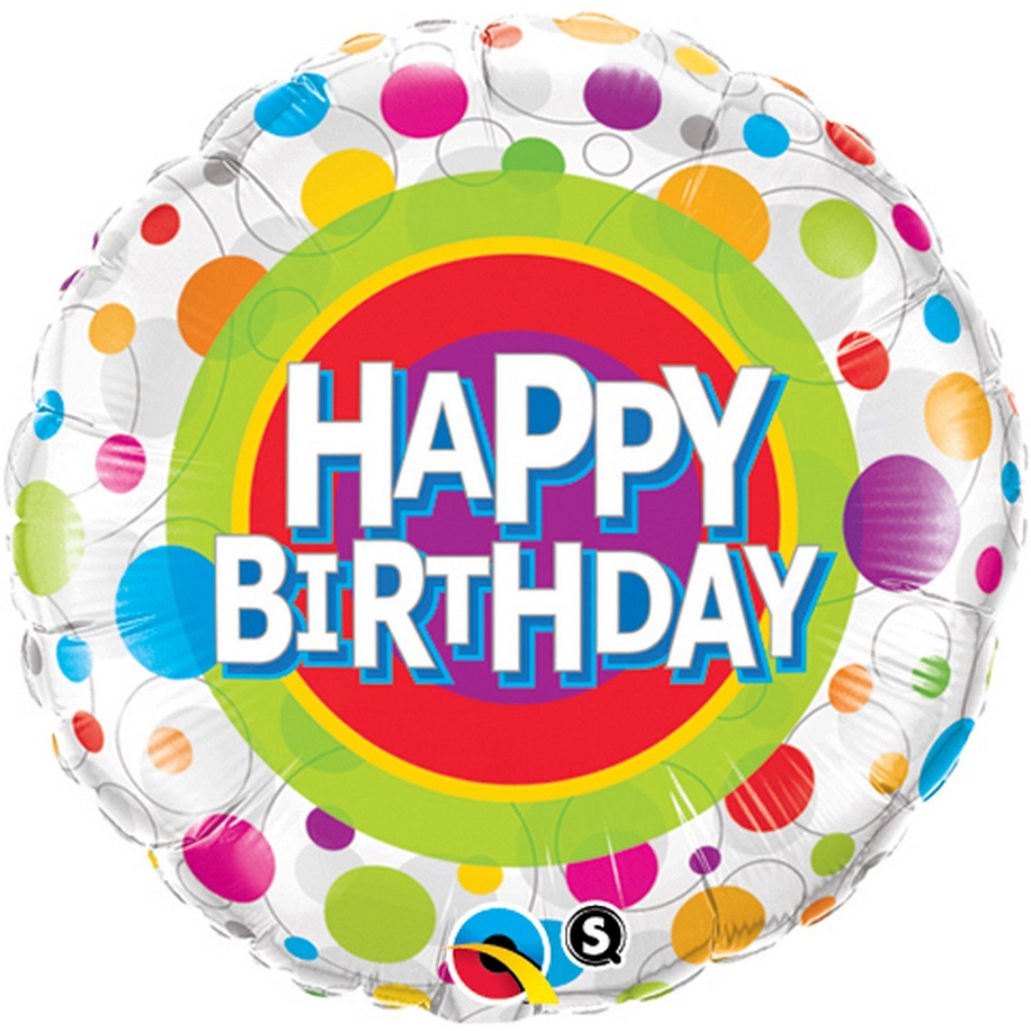 "18"" Happy Birthday Colourful Dots Foil Balloon"
