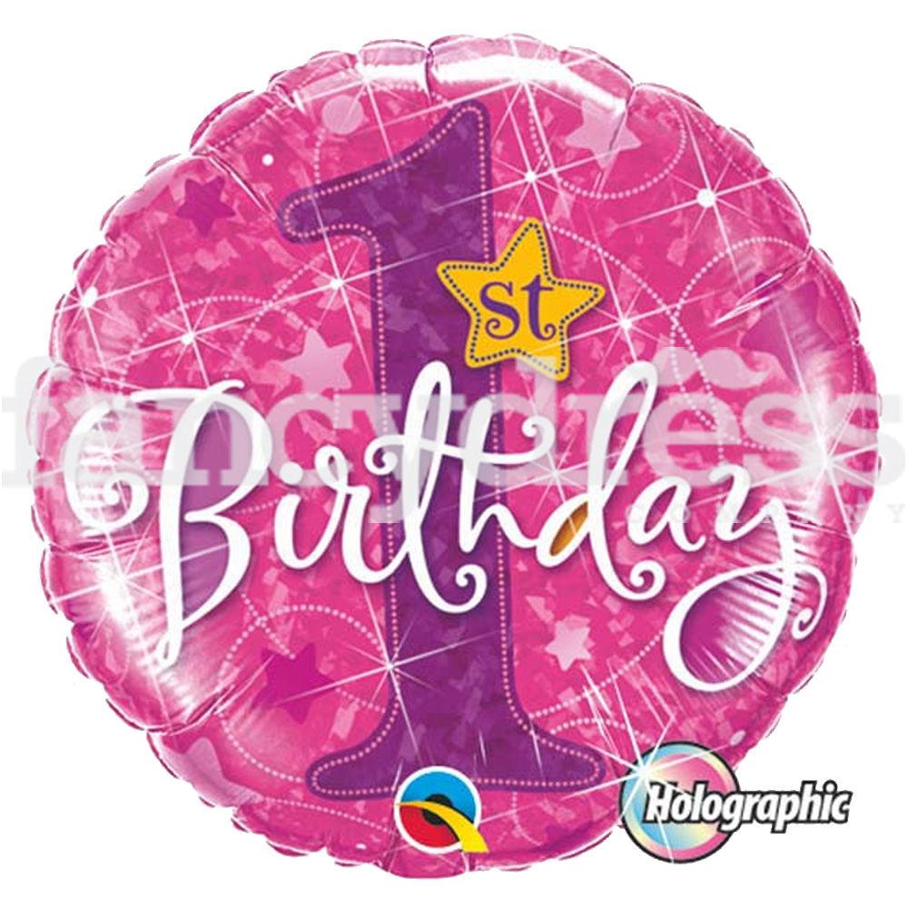 "18"" 1st Birthday Stars Pink Foil"