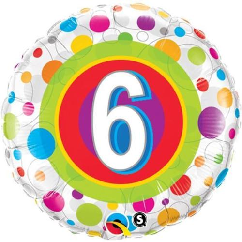 "18"" Colourful Dots Age 6 Foil"