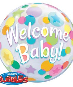 "22"" Welcome Baby Colourful Dots Single Bubble"