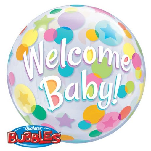 """22"""" Welcome Baby Colourful Dots Single Bubble"""