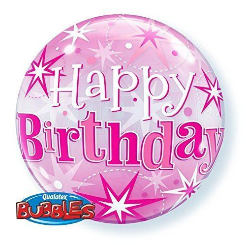 "22"" Birthday Pink Starburst Sparkle Single Bubble"