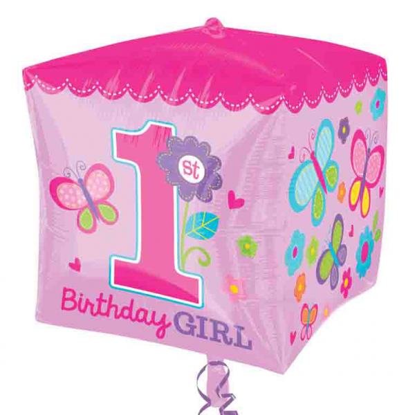 "15"" Sweet Girl 1st Birthday Cubez Foil"