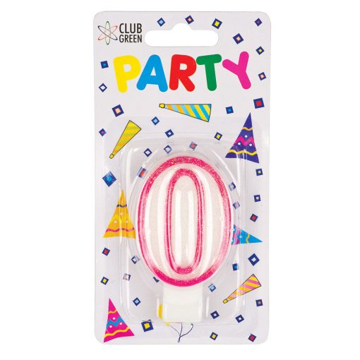 Party Candle - Number 0 Pink