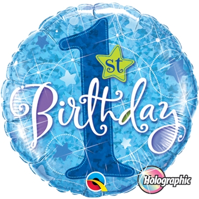 "18"" 1st Birthday Stars Blue Foil"