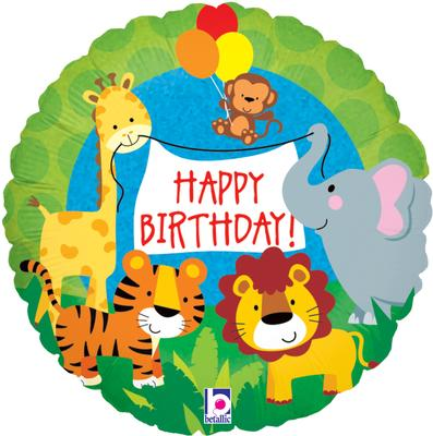 "18"" Jungle Animals Birthday Foil"