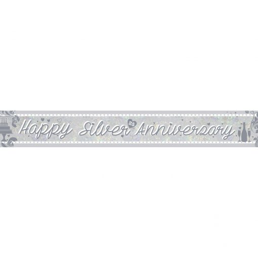 Silver Anniversary Holographic Foil Banner