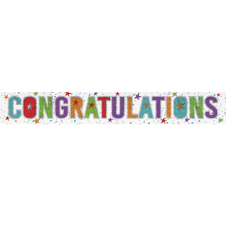 Congratulations Holographic Foil Banner