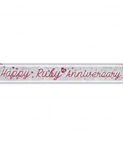 Ruby Anniversary Holographic Foil Banner