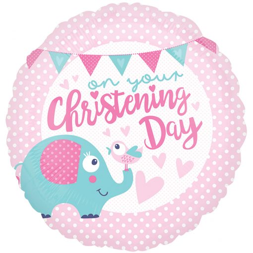 "18"" Christening Day Pink Foil"