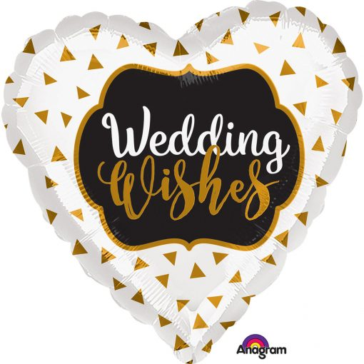 """18"""" Wedding Wishes Gold Foil"""