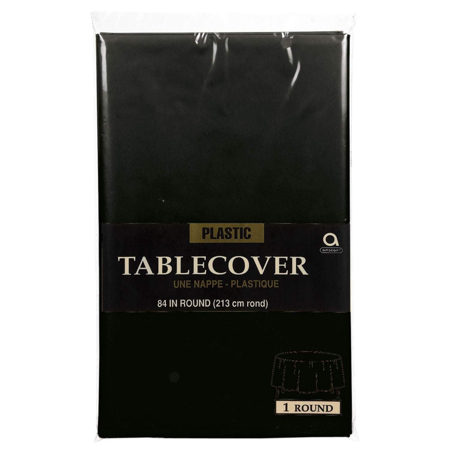 Plastic Round Tablecover Black