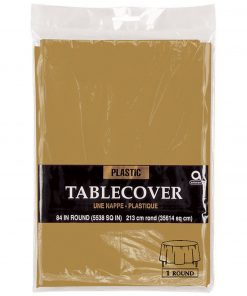 Plastic Round Tablecover Gold