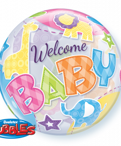 "22"" Welcome Baby Animals Patterns Single Bubble"