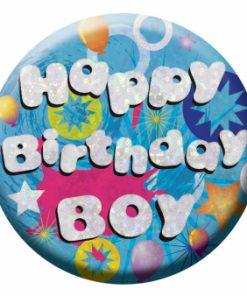Happy Birthday Boy Badge Holo