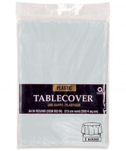 Plastic Round Tablecover Silver